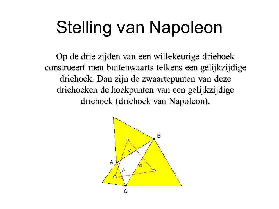 Stelling van Napoleon Op de drie zijden van een willekeurige driehoek construeert men buitenwaarts telkens een gelijkzijdige driehoek. Dan zijn de zwa