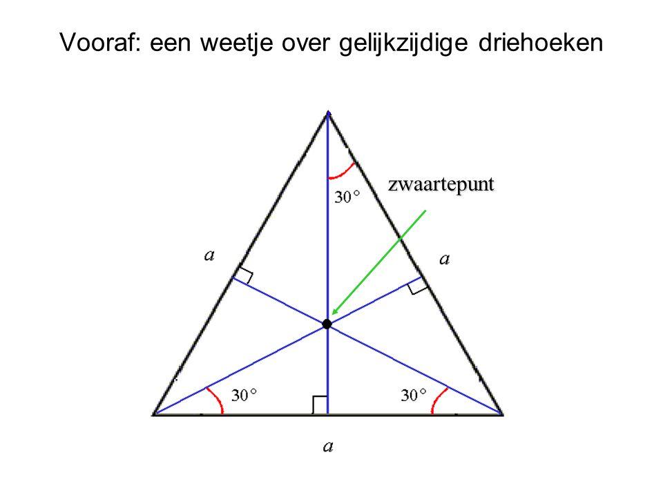 Driehoek ABC met Driehoek ABC met a = |BC|, b = |AC|, c = |AB| t u s G, I, H : de zwaartepunten van de drie gelijkzijdige driehoeken G, I, H : de zwaartepunten van de drie gelijkzijdige driehoeken s = |GI|, u = |AI|, t = |AG| s = |GI|, u = |AI|, t = |AG| Afspraken (notaties)