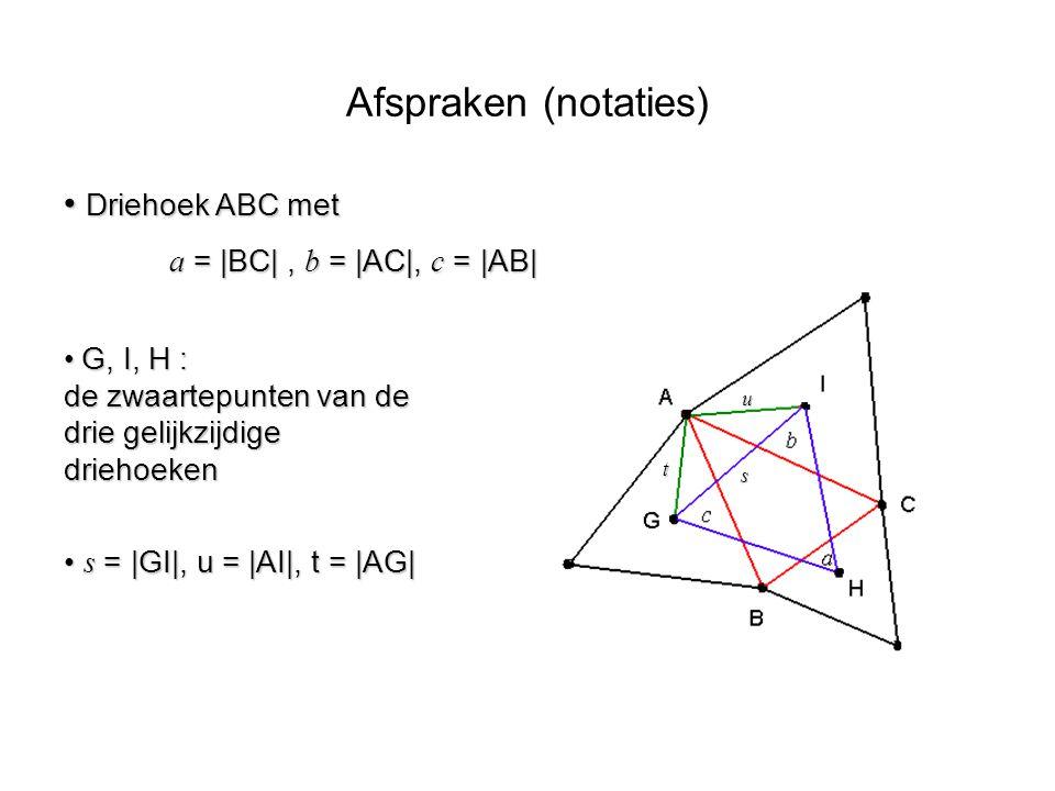 Driehoek ABC met Driehoek ABC met a =  BC , b =  AC , c =  AB  t u s G, I, H : de zwaartepunten van de drie gelijkzijdige driehoeken G, I, H : de zwaa