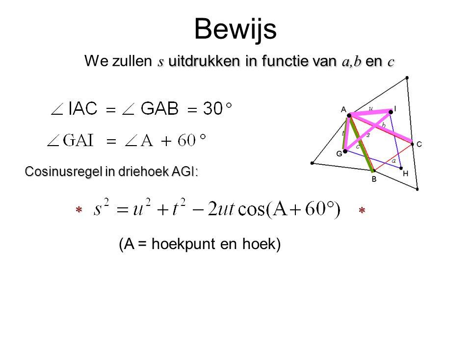 s uitdrukken in functie van a,b en c Bewijs We zullen s uitdrukken in functie van a,b en c (A = hoekpunt en hoek) Cosinusregel in driehoek AGI: * *