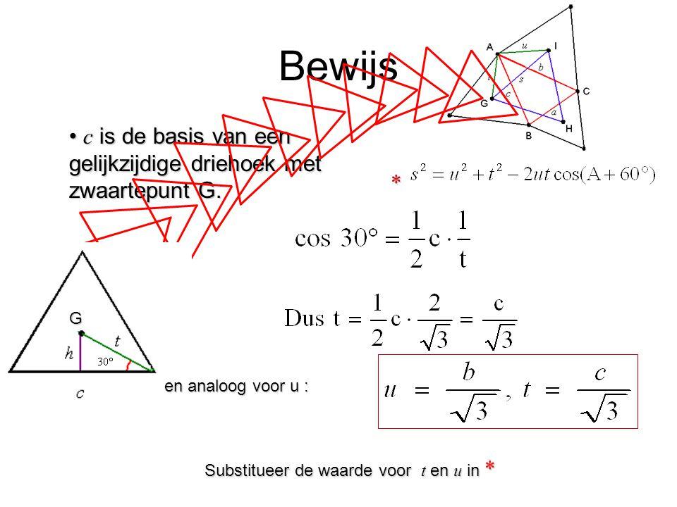 Bewijs c is de basis van een gelijkzijdige driehoek met zwaartepunt G. c is de basis van een gelijkzijdige driehoek met zwaartepunt G. * Substitueer d