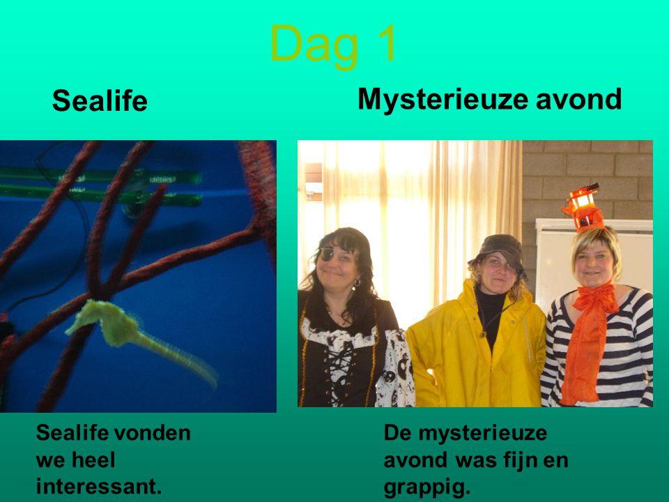 Dag 1 Sealife Mysterieuze avond Sealife vonden we heel interessant.