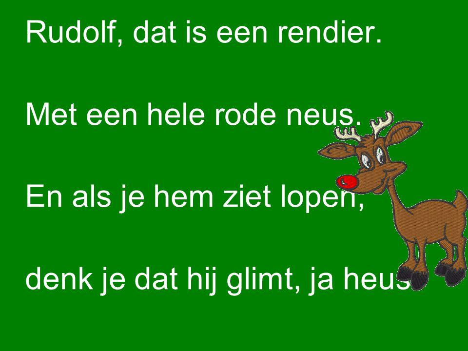 Rudolf, dat is een rendier.Met een hele rode neus.