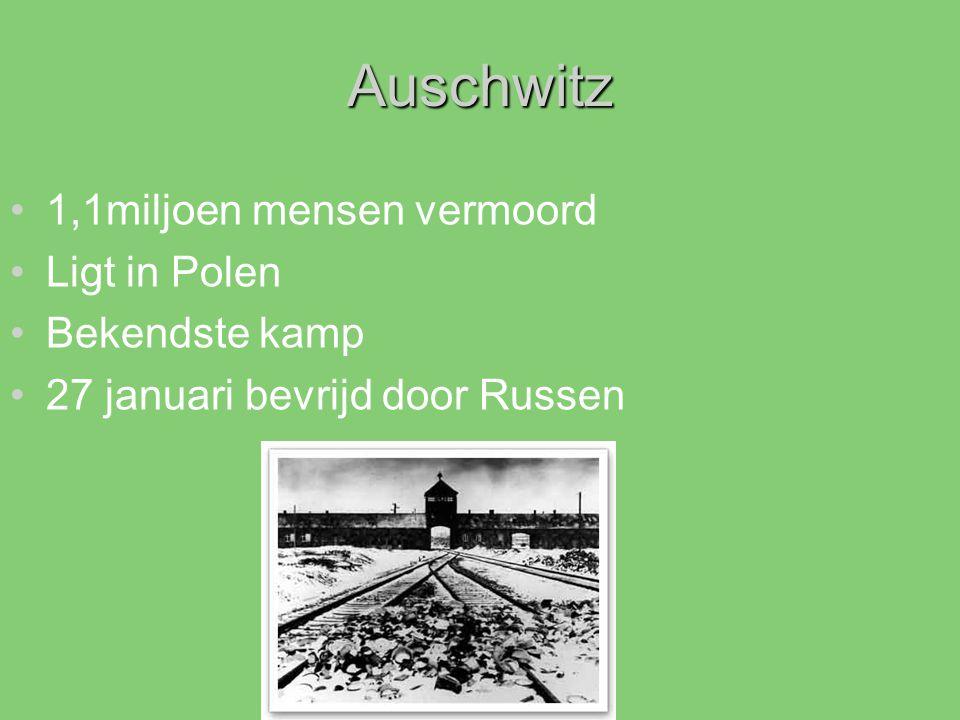 Auschwitz 1,1miljoen mensen vermoord Ligt in Polen Bekendste kamp 27 januari bevrijd door Russen