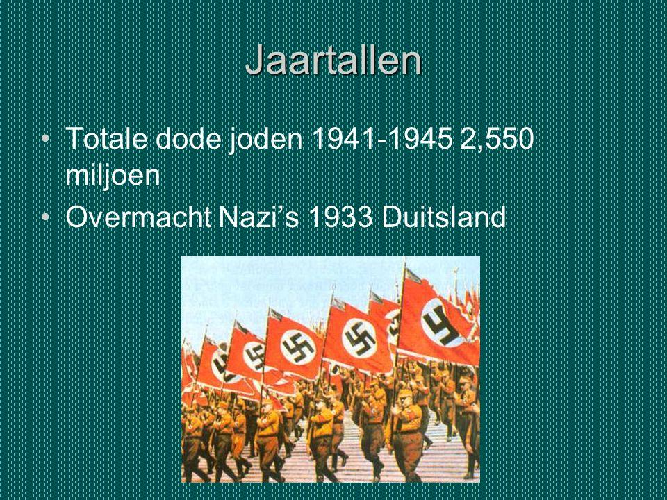Jaartallen Totale dode joden 1941-1945 2,550 miljoen Overmacht Nazi's 1933 Duitsland