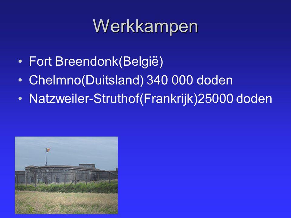 Werkkampen Fort Breendonk(België) Chelmno(Duitsland) 340 000 doden Natzweiler-Struthof(Frankrijk)25000 doden