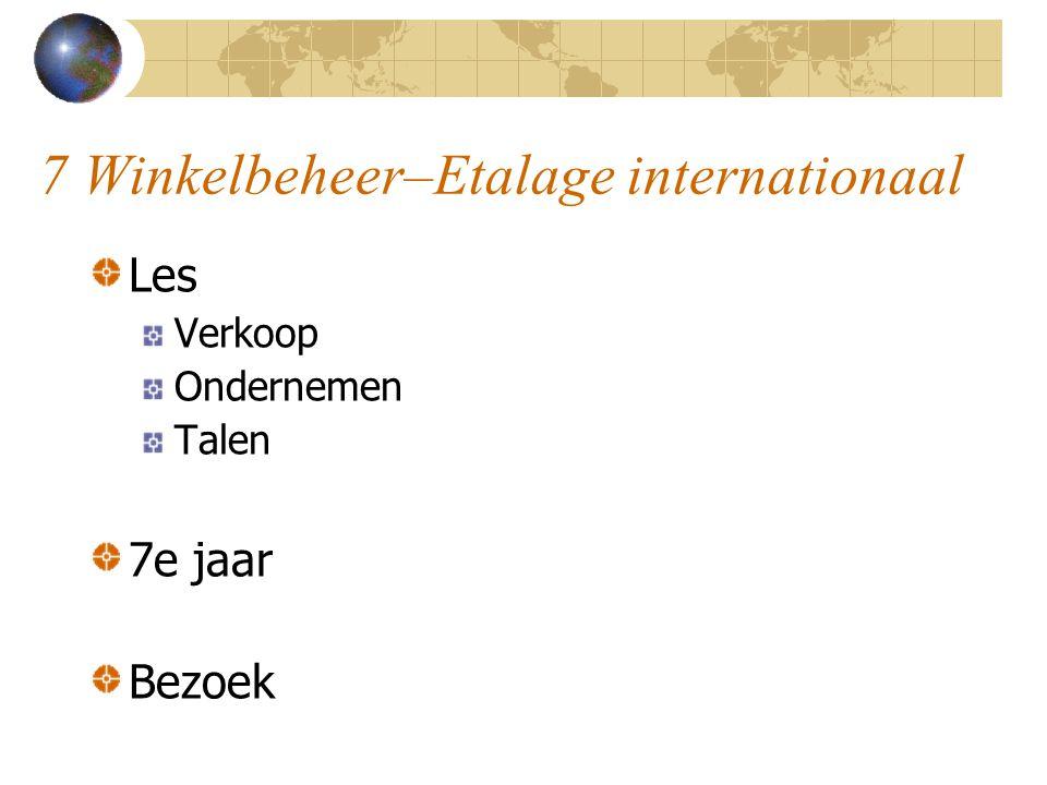 7 Winkelbeheer–Etalage internationaal Vlaams ministerie FIT (Flanders Investment and Trade) Vlajo – Ja-YE (Junior Achievement Young Enterprise) EWB – Enterprise without Borders www.ewb.ja-ye.org
