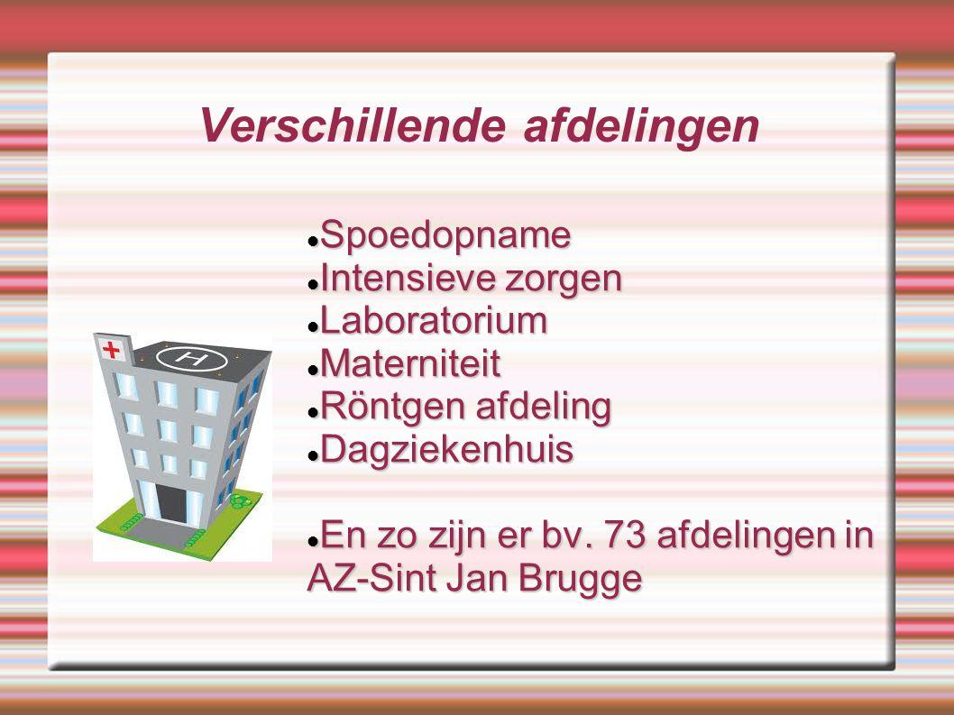 Verschillende afdelingen Spoedopname Spoedopname Intensieve zorgen Intensieve zorgen Laboratorium Laboratorium Materniteit Materniteit Röntgen afdelin