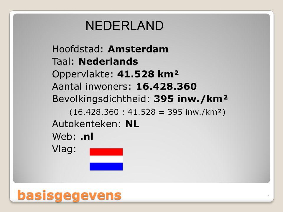 basisgegevens Hoofdstad: Amsterdam Taal: Nederlands Oppervlakte: 41.528 km² Aantal inwoners: 16.428.360 Bevolkingsdichtheid: 395 inw./km² (16.428.360 : 41.528 = 395 inw./km²) Autokenteken: NL Web:.nl Vlag: NEDERLAND 1