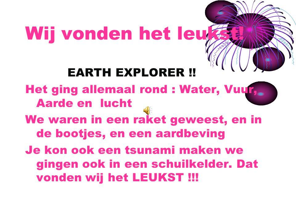 Wij vonden het leukst.EARTH EXPLORER !.
