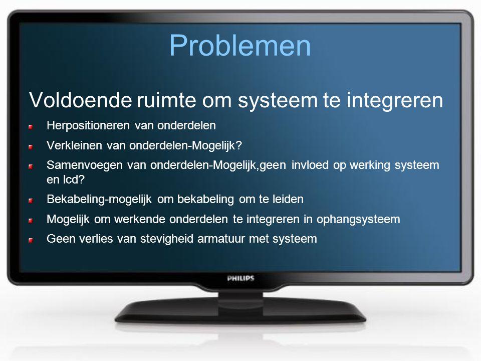 Problemen Voldoende ruimte om systeem te integreren Herpositioneren van onderdelen Verkleinen van onderdelen-Mogelijk? Samenvoegen van onderdelen-Moge