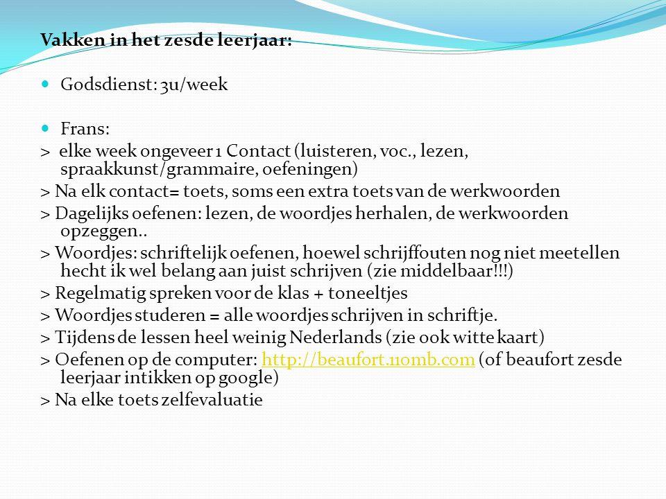 Vakken in het zesde leerjaar: Godsdienst: 3u/week Frans: > elke week ongeveer 1 Contact (luisteren, voc., lezen, spraakkunst/grammaire, oefeningen) >