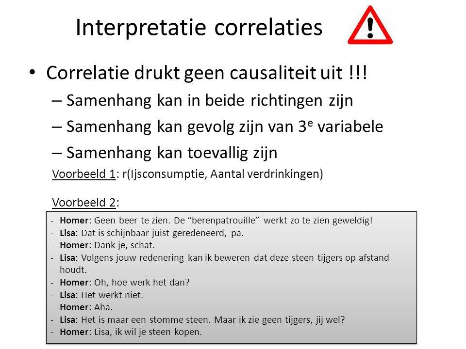 Interpretatie correlaties Correlatie drukt geen causaliteit uit !!! – Samenhang kan in beide richtingen zijn – Samenhang kan gevolg zijn van 3 e varia