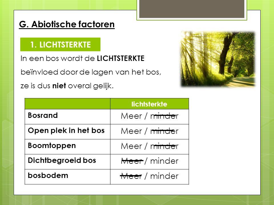 G. Abiotische factoren In een bos wordt de LICHTSTERKTE beïnvloed door de lagen van het bos, ze is dus niet overal gelijk. lichtsterkte Bosrand Meer /