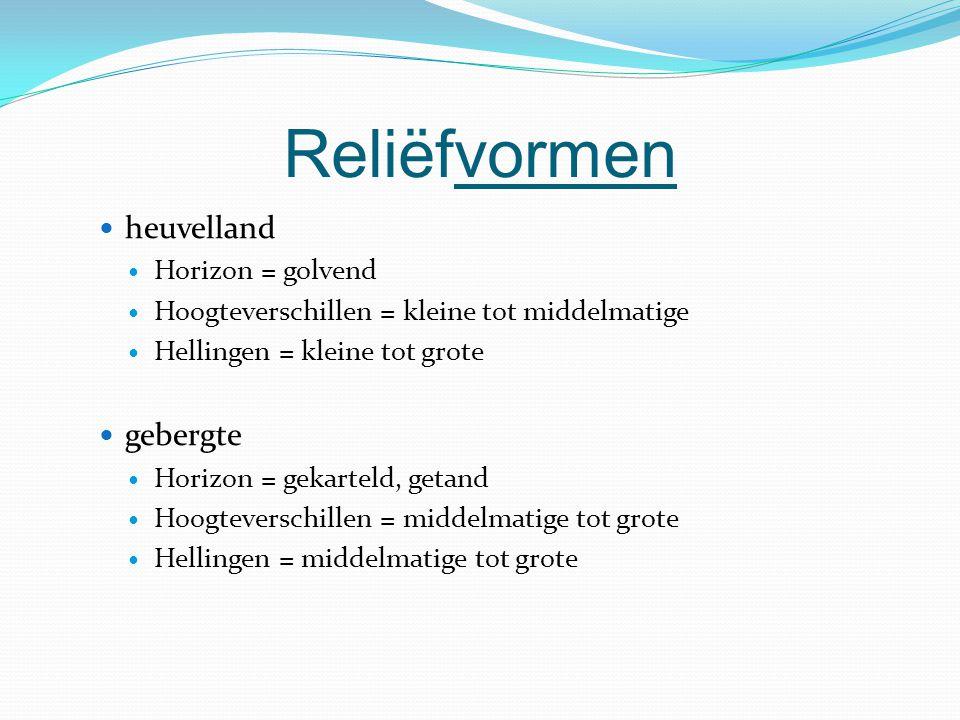 Reliëfvormen heuvelland Horizon = golvend Hoogteverschillen = kleine tot middelmatige Hellingen = kleine tot grote gebergte Horizon = gekarteld, getan