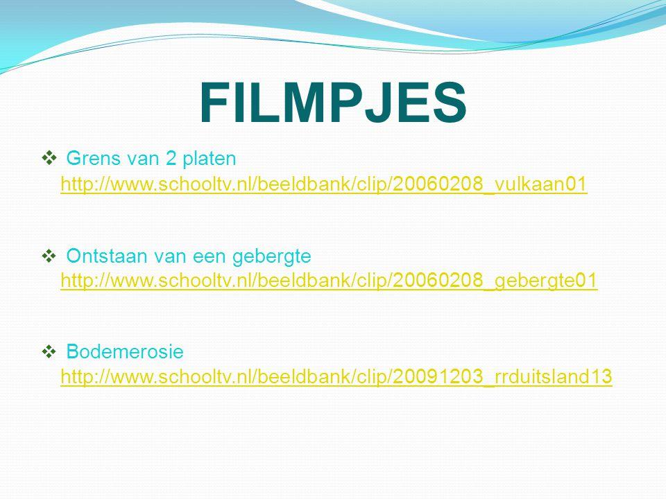 FILMPJES  Grens van 2 platen http://www.schooltv.nl/beeldbank/clip/20060208_vulkaan01 http://www.schooltv.nl/beeldbank/clip/20060208_vulkaan01  Onts