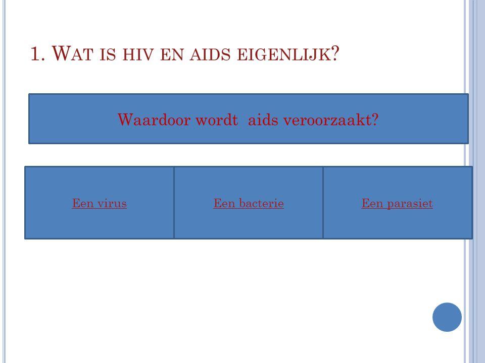 1. W AT IS HIV EN AIDS EIGENLIJK ? Een virusEen bacterieEen parasiet Waardoor wordt aids veroorzaakt?