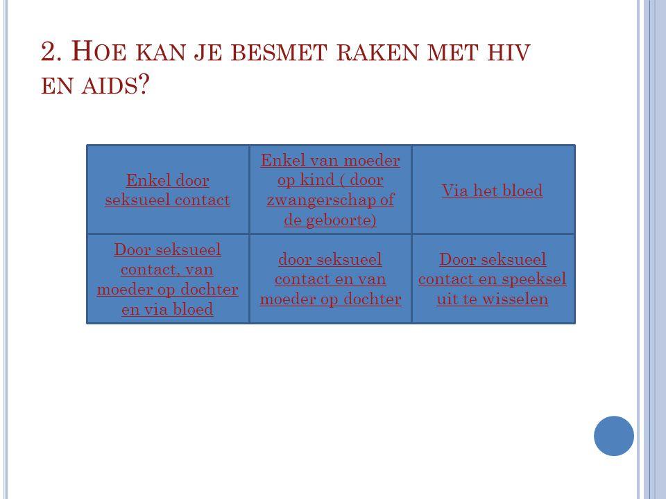 2. H OE KAN JE BESMET RAKEN MET HIV EN AIDS ? Enkel door seksueel contact Via het bloed Enkel van moeder op kind ( door zwangerschap of de geboorte) d