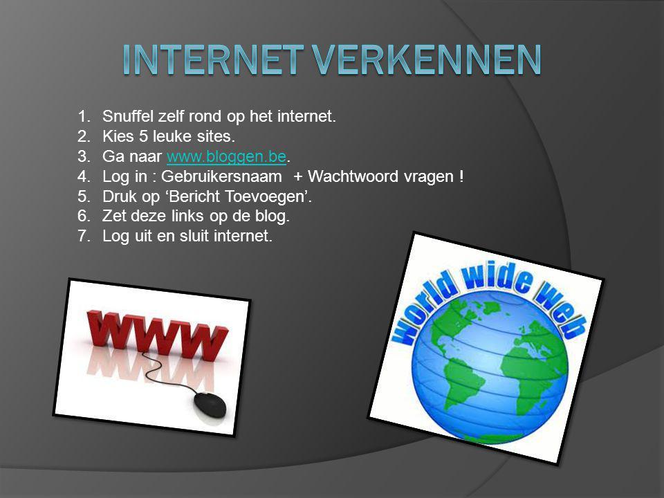 1.Snuffel zelf rond op het internet. 2.Kies 5 leuke sites.