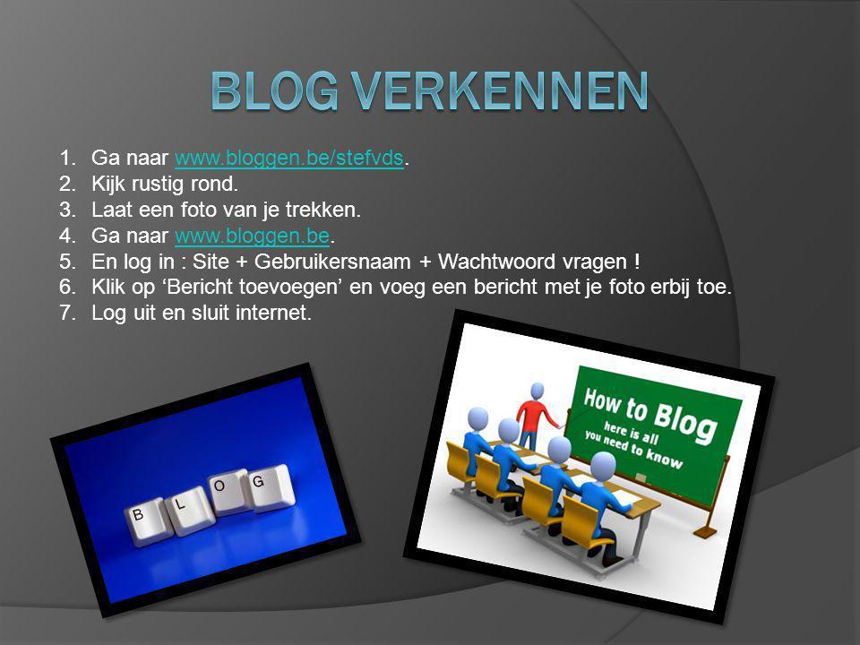 1.Ga naar www.bloggen.be/stefvds.www.bloggen.be/stefvds 2.Kijk rustig rond.