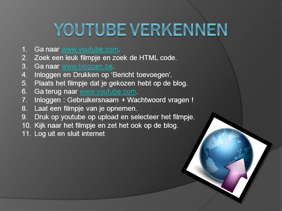 1. Ga naar www.youtube.com.www.youtube.com 2. Zoek een leuk filmpje en zoek de HTML code. 3. Ga naar www.bloggen.be.www.bloggen.be 4. Inloggen en Druk