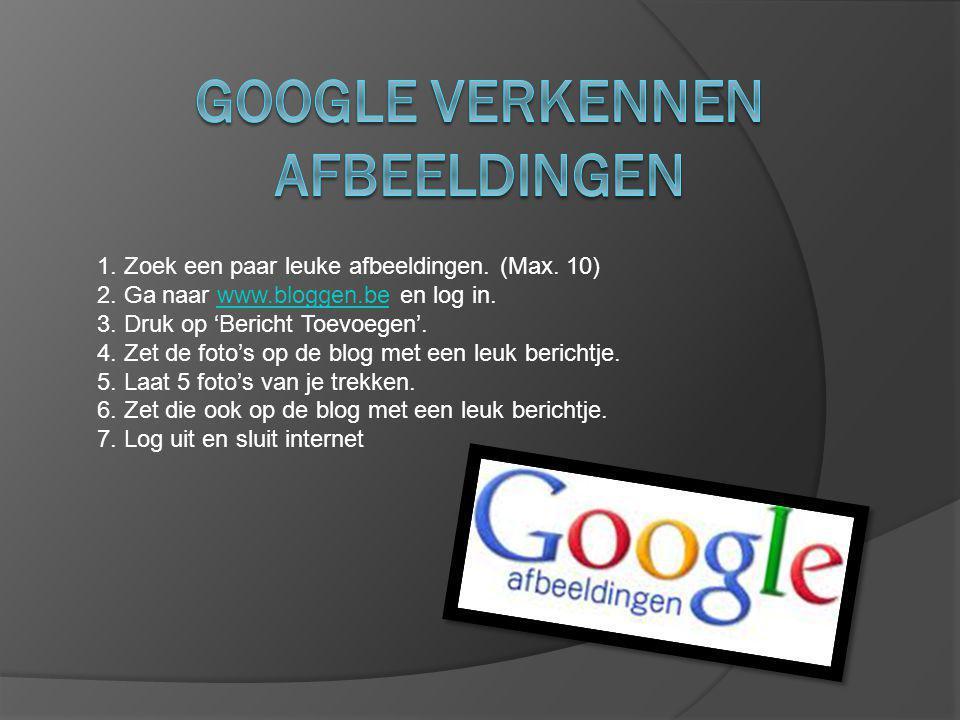 1. Zoek een paar leuke afbeeldingen. (Max. 10) 2. Ga naar www.bloggen.be en log in.www.bloggen.be 3. Druk op 'Bericht Toevoegen'. 4. Zet de foto's op