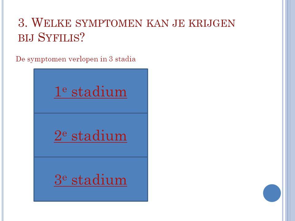 3. W ELKE SYMPTOMEN KAN JE KRIJGEN BIJ S YFILIS ? 1 e stadium 3 e stadium 2 e stadium De symptomen verlopen in 3 stadia