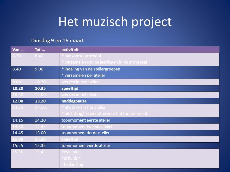 Het muzisch project Dinsdag 9 en 16 maart Van …Tot …activiteit 8.308.40 * aankomst op school * verzamelen van de leerlingen in de grote zaal 8.409.00