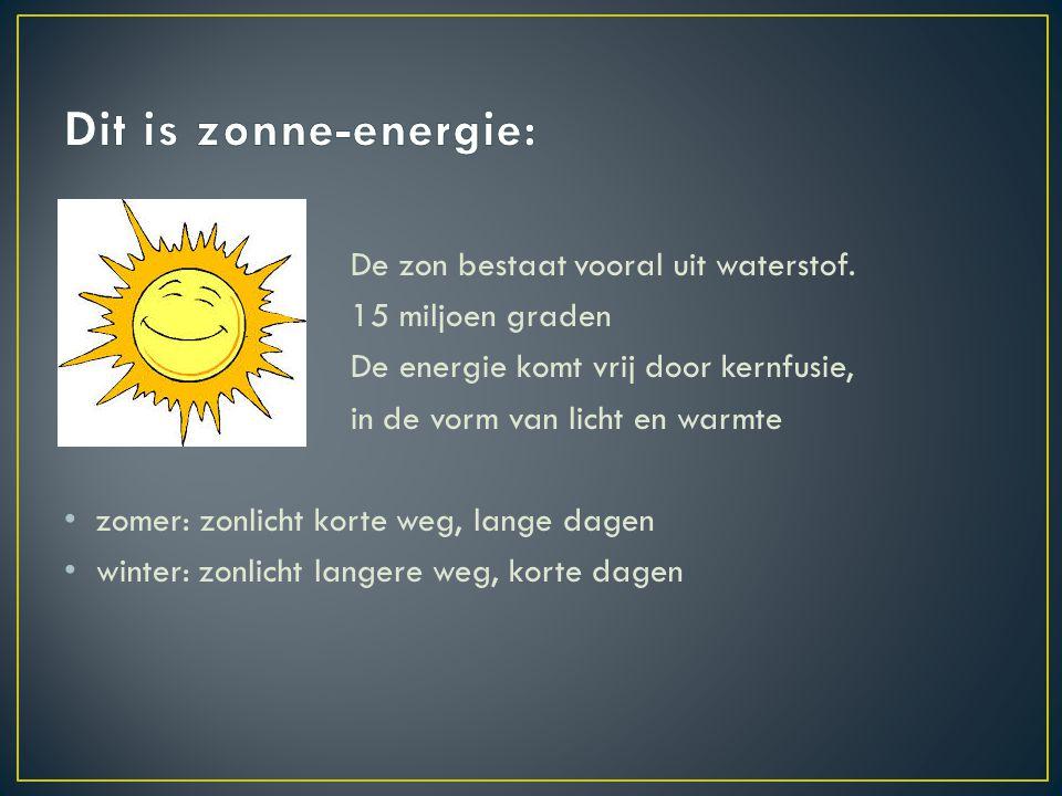 De zon bestaat vooral uit waterstof. 15 miljoen graden De energie komt vrij door kernfusie, in de vorm van licht en warmte zomer: zonlicht korte weg,