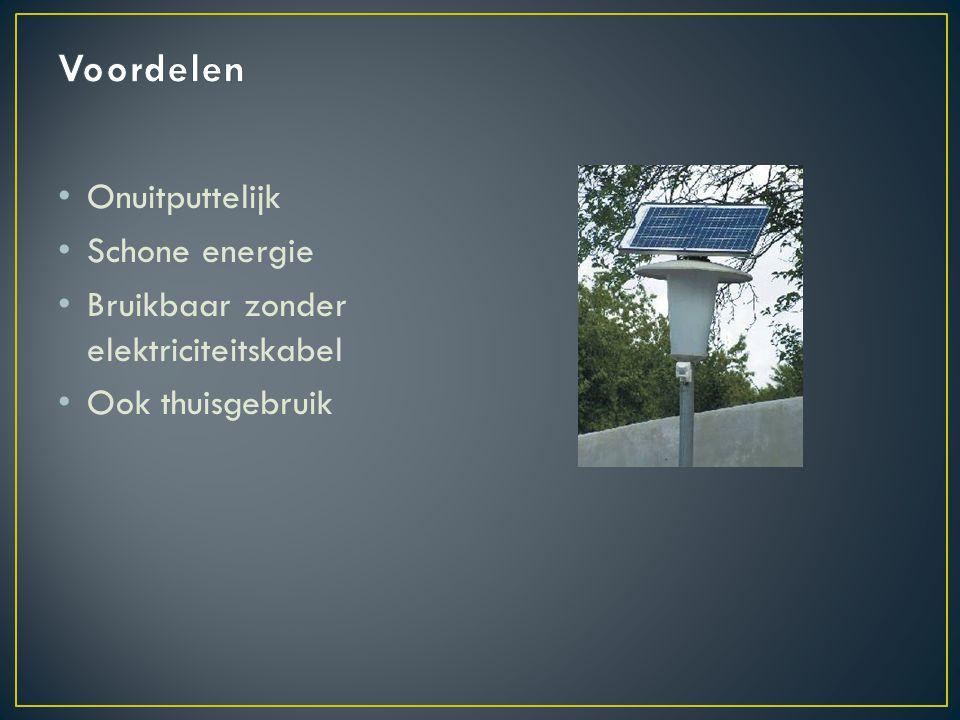 Onuitputtelijk Schone energie Bruikbaar zonder elektriciteitskabel Ook thuisgebruik