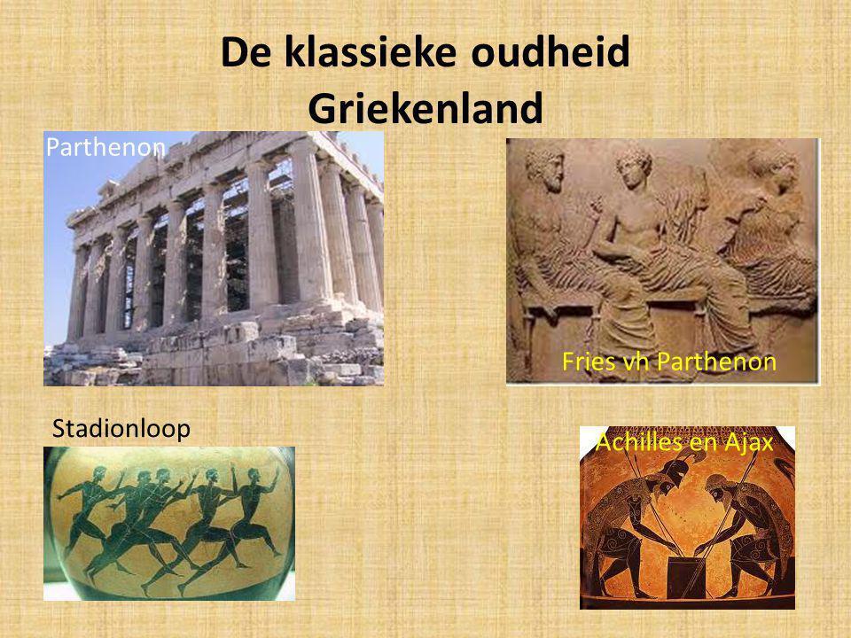 De klassieke oudheid Griekenland Parthenon Fries vh Parthenon Stadionloop Achilles en Ajax
