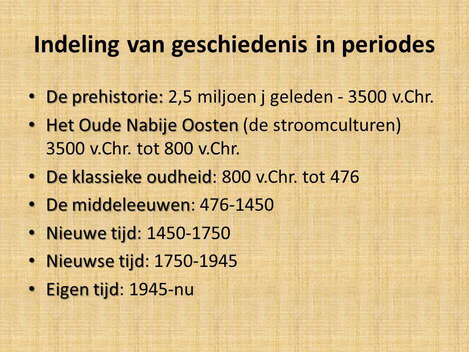 Indeling van geschiedenis in periodes De prehistorie: De prehistorie: 2,5 miljoen j geleden - 3500 v.Chr. Het Oude Nabije Oosten Het Oude Nabije Ooste