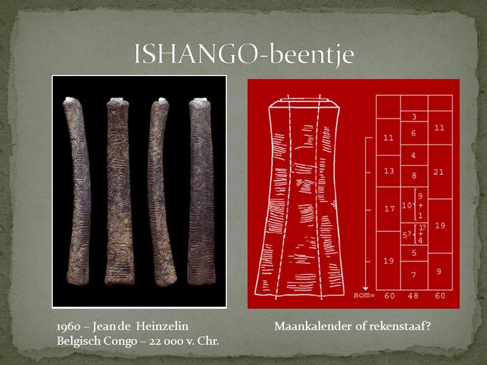 1960 – Jean de Heinzelin Belgisch Congo – 22 000 v. Chr. Maankalender of rekenstaaf?