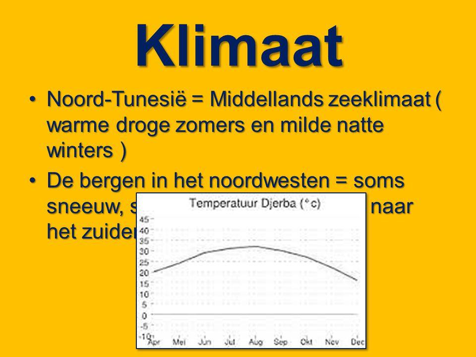 Klimaat Noord-Tunesië = Middellands zeeklimaat ( warme droge zomers en milde natte winters )Noord-Tunesië = Middellands zeeklimaat ( warme droge zomer