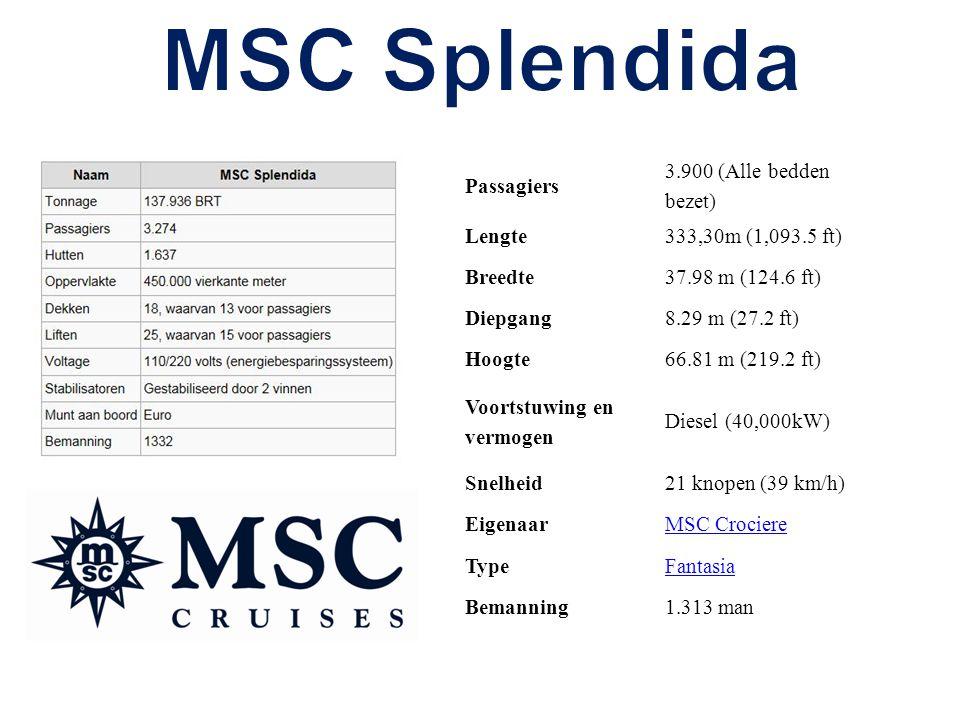 Passagiers 3.900 (Alle bedden bezet) Lengte333,30m (1,093.5 ft) Breedte37.98 m (124.6 ft) Diepgang8.29 m (27.2 ft) Hoogte66.81 m (219.2 ft) Voortstuwing en vermogen Diesel (40,000kW) Snelheid21 knopen (39 km/h) EigenaarMSC Crociere TypeFantasia Bemanning1.313 man