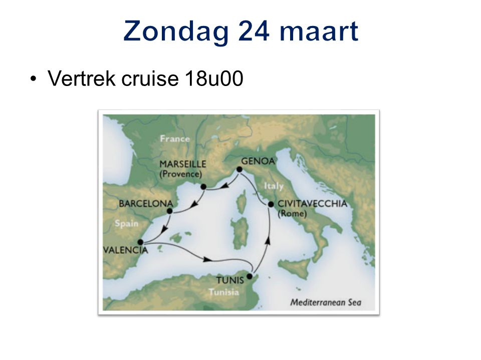 Vertrek cruise 18u00