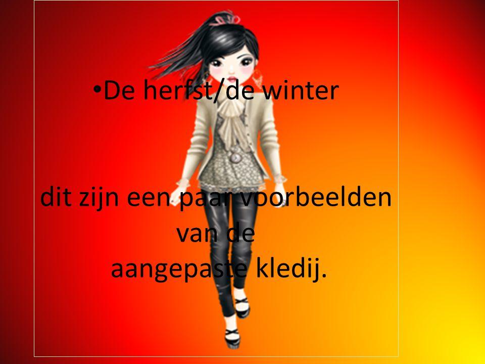 De herfst/de winter dit zijn een paar voorbeelden van de aangepaste kledij.