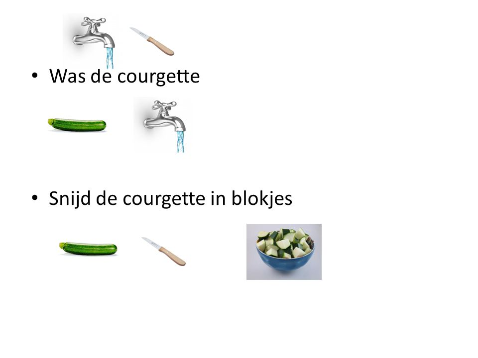 Was de courgette Snijd de courgette in blokjes