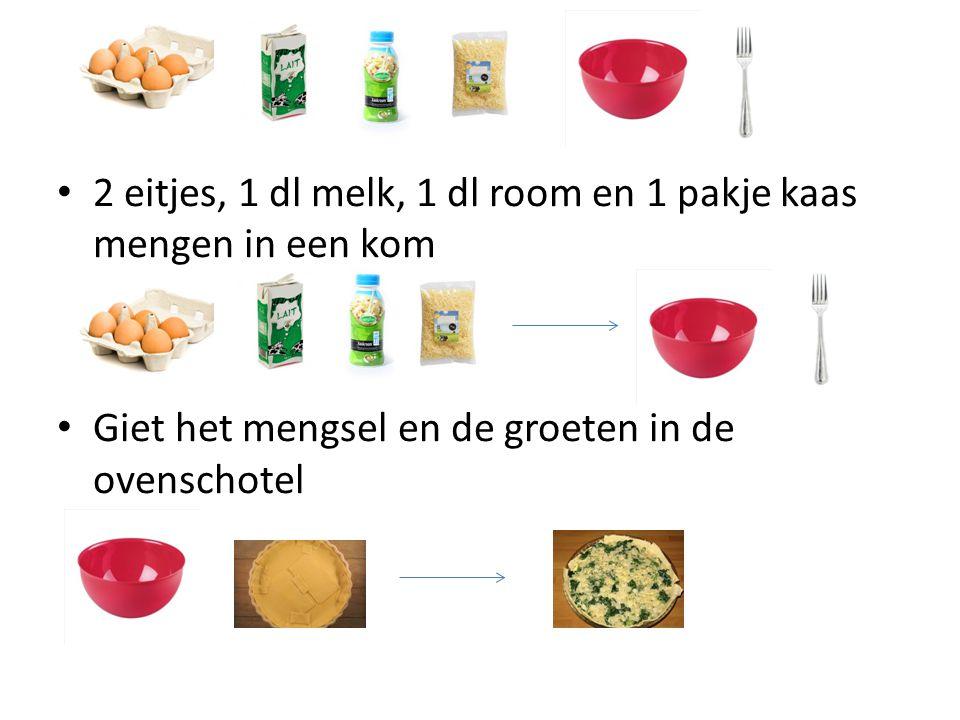 2 eitjes, 1 dl melk, 1 dl room en 1 pakje kaas mengen in een kom Giet het mengsel en de groeten in de ovenschotel