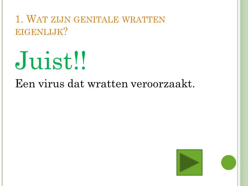 1. W AT ZIJN GENITALE WRATTEN EIGENLIJK ? Juist!! Een virus dat wratten veroorzaakt.
