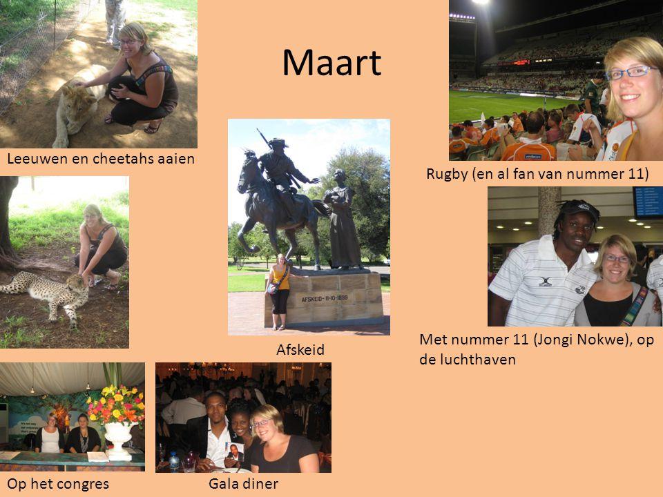 Maart Rugby (en al fan van nummer 11) Leeuwen en cheetahs aaien Afskeid Met nummer 11 (Jongi Nokwe), op de luchthaven Op het congresGala diner