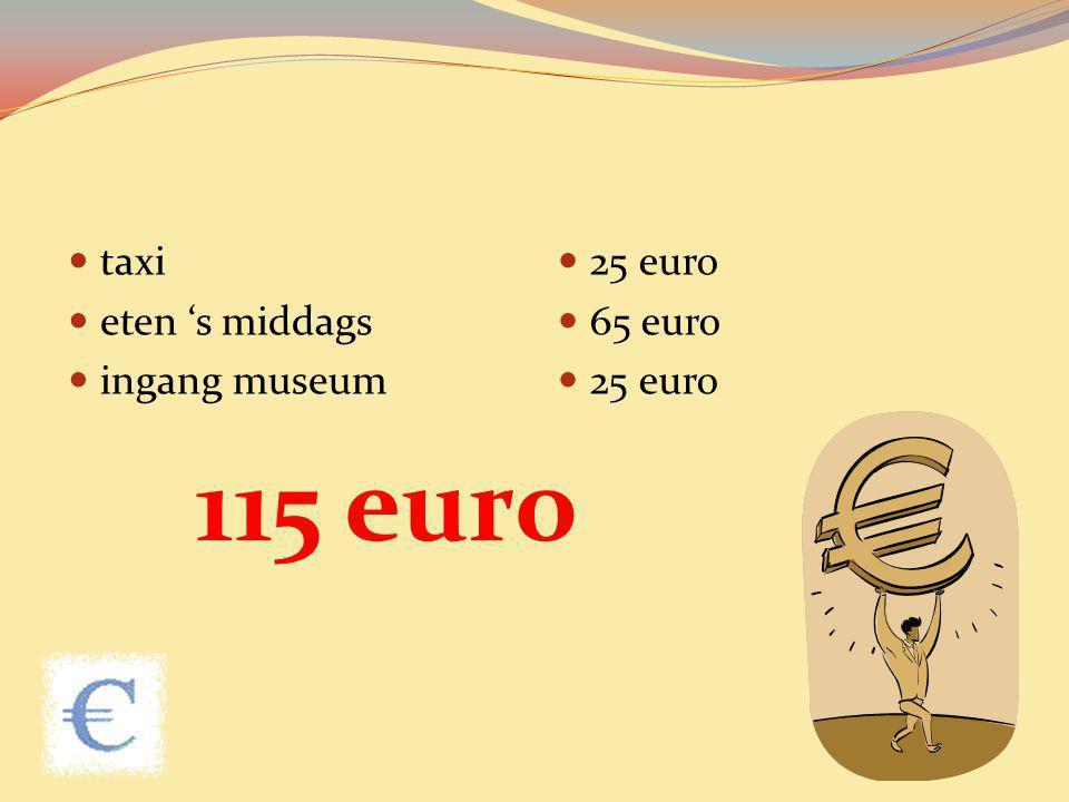 taxi eten 's middags ingang museum 25 euro 65 euro 25 euro 115 euro