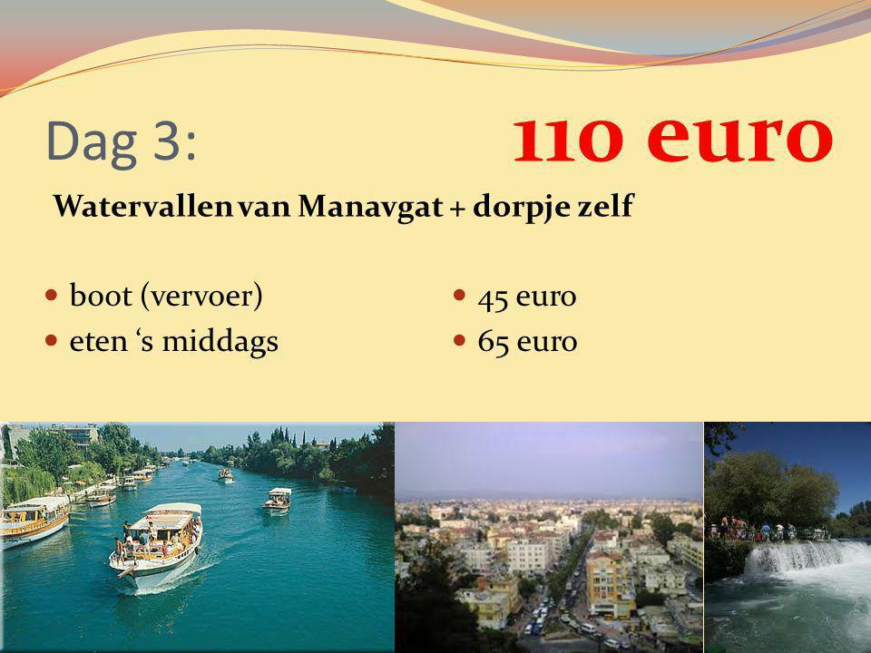 Dag 3: Watervallen van Manavgat + dorpje zelf boot (vervoer) eten 's middags 45 euro 65 euro 110 euro
