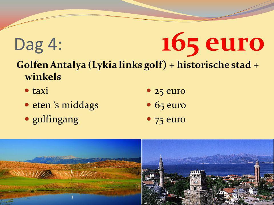 Dag 4: Golfen Antalya (Lykia links golf) + historische stad + winkels taxi eten 's middags golfingang 25 euro 65 euro 75 euro 165 euro