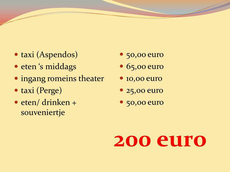50,00 euro 65,00 euro 10,00 euro 25,00 euro 50,00 euro taxi (Aspendos) eten 's middags ingang romeins theater taxi (Perge) eten/ drinken + souveniertj