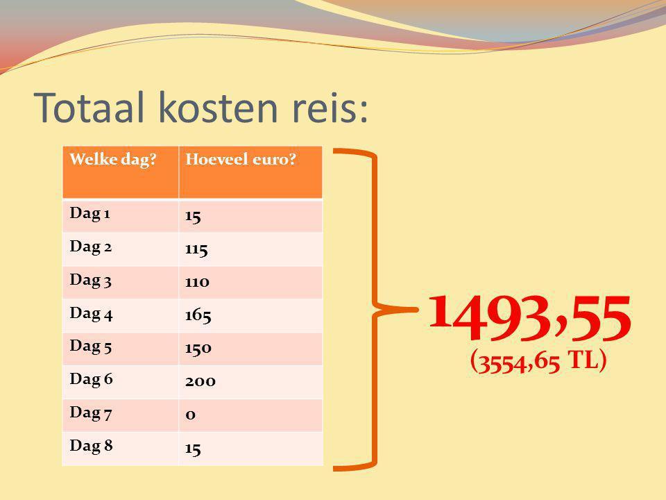 Totaal kosten reis: Welke dag?Hoeveel euro? Dag 1 15 Dag 2 115 Dag 3 110 Dag 4 165 Dag 5 150 Dag 6 200 Dag 7 0 Dag 8 15 1493,55 (3554,65 TL)