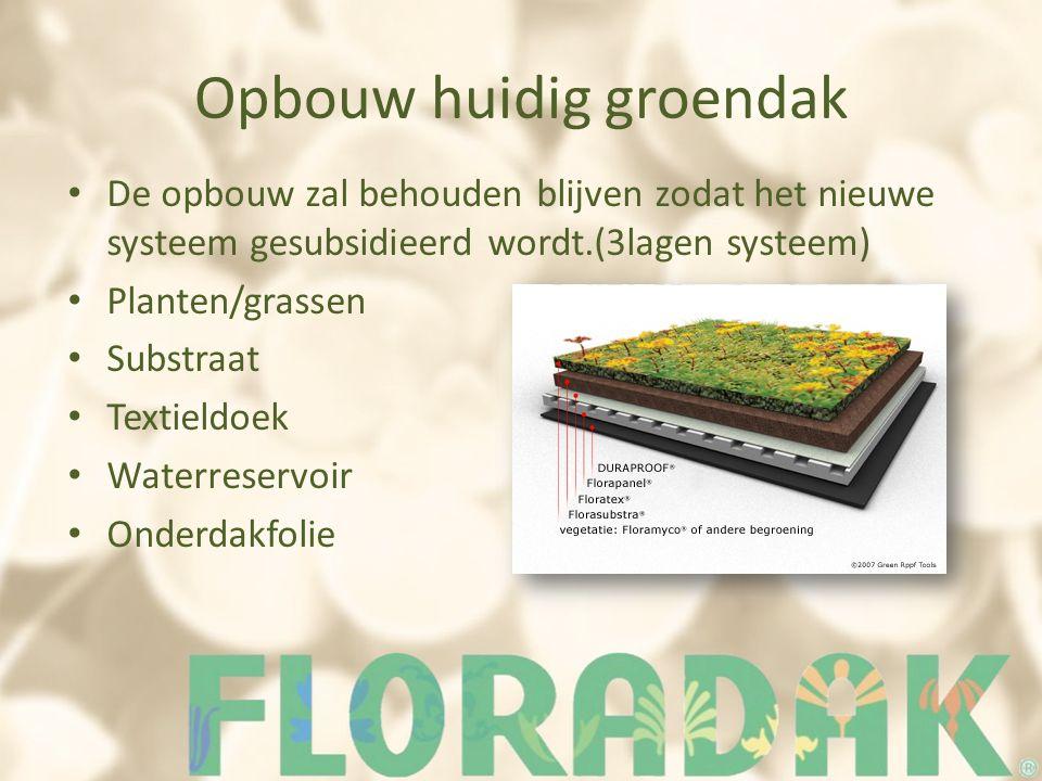 Opbouw huidig groendak De opbouw zal behouden blijven zodat het nieuwe systeem gesubsidieerd wordt.(3lagen systeem) Planten/grassen Substraat Textield