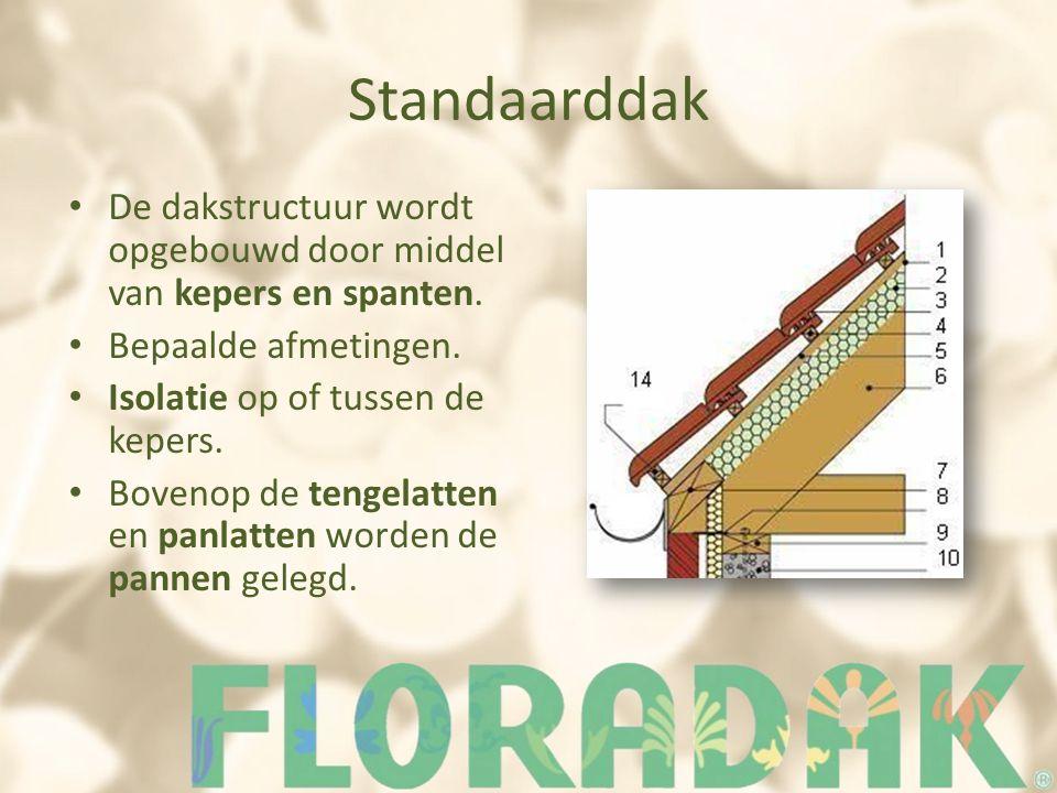 Standaarddak De dakstructuur wordt opgebouwd door middel van kepers en spanten. Bepaalde afmetingen. Isolatie op of tussen de kepers. Bovenop de tenge