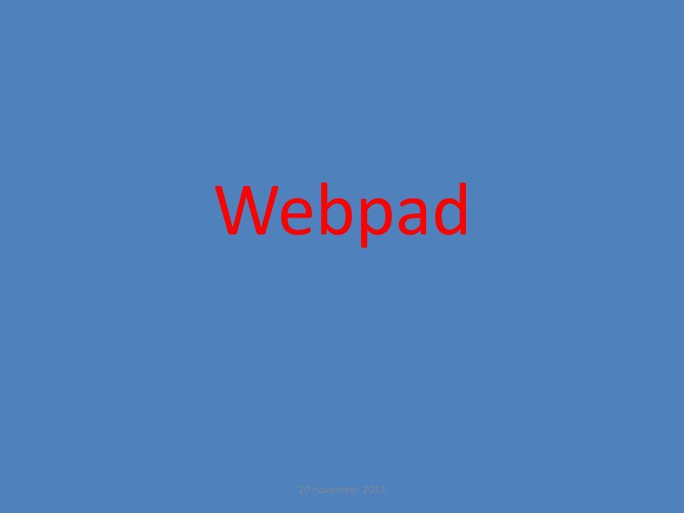 Webpad 20 november 2012