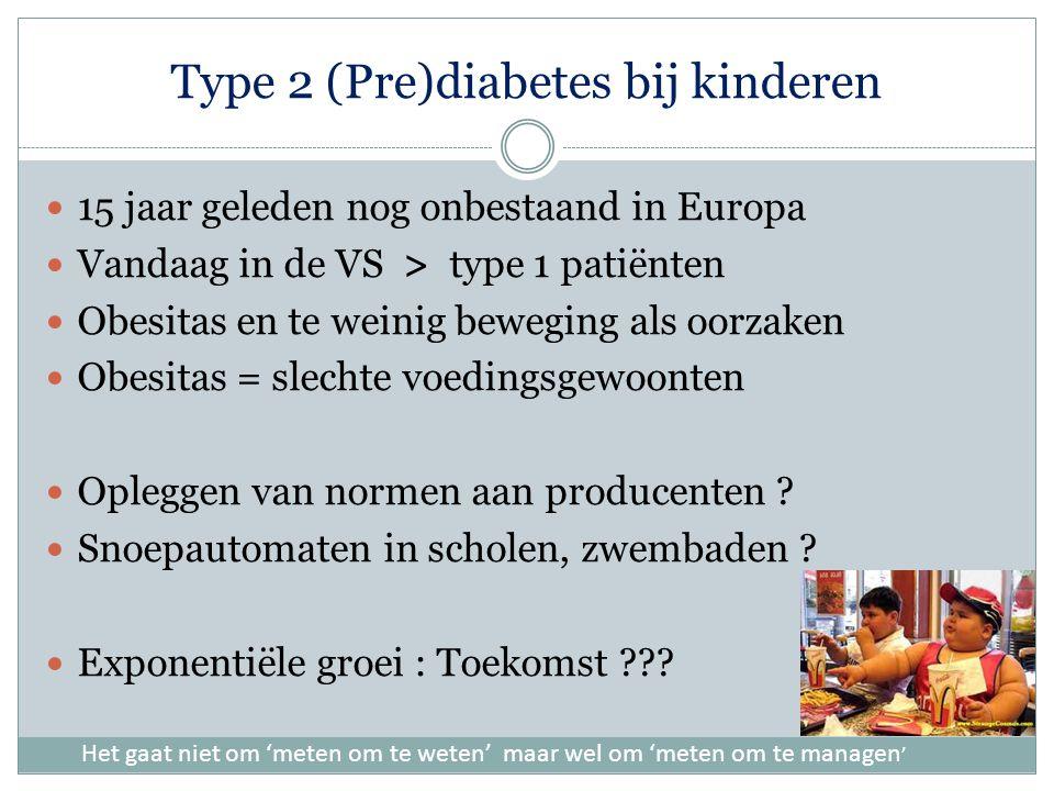 Type 2 (Pre)diabetes bij kinderen 15 jaar geleden nog onbestaand in Europa Vandaag in de VS > type 1 patiënten Obesitas en te weinig beweging als oorzaken Obesitas = slechte voedingsgewoonten Opleggen van normen aan producenten .